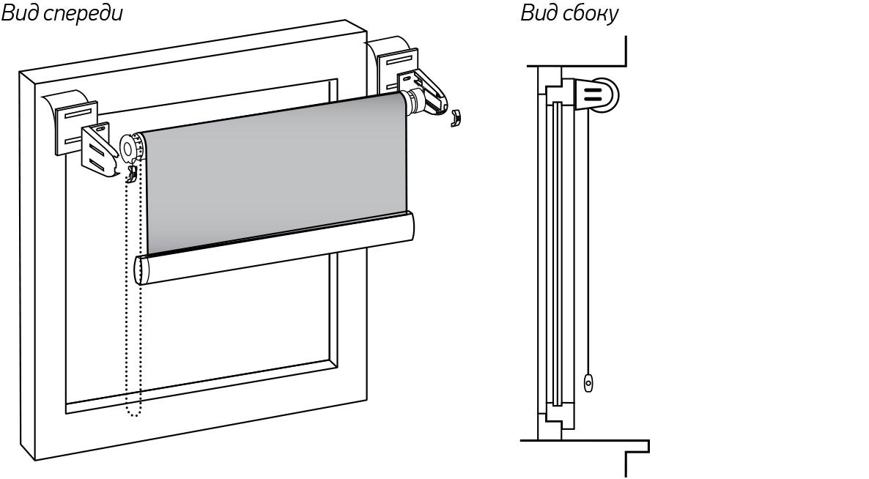 Установка рулонной шторы мини на двухсторонний скотч.
